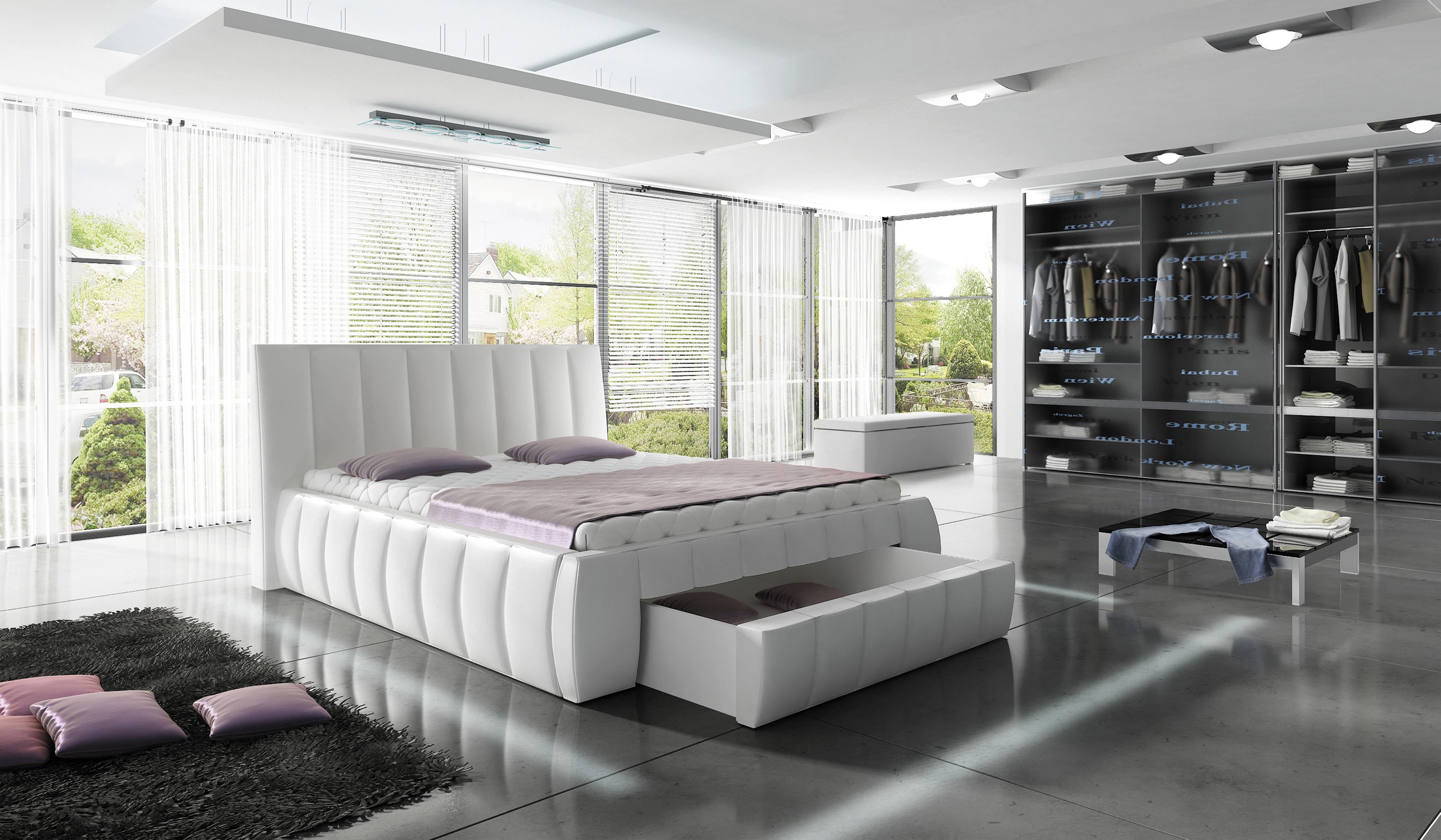 Nowoczesne łóżko Z Pojemnikiem Na Pościel Roma 160x200